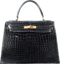 "Luxury Accessories:Bags, Hermes 28cm Shiny Black Crocodile Sellier Kelly Bag with Gold Hardware. T, 1964. Good Condition. 11"" Width x 8"" He..."