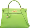 Luxury Accessories:Bags, Hermes 32cm Vert Cru Gulliver Leather Retourne Kelly Bag with GoldHardware. C Square, 1999. Excellent Condition....