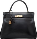 """Luxury Accessories:Bags, Hermes 28cm Black Calf Box Leather Retourne Kelly Bag with GoldHardware. C, 1947. Good Condition. 11"""" Width x 8""""..."""