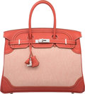 Luxury Accessories:Bags, Hermes Limited Edition 35cm Sanguine Swift Leather & ToileGhillies Birkin Bag with Palladium Hardware. Q Square, 2013.Pr...