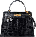 "Luxury Accessories:Bags, Hermes 28cm Shiny Black Crocodile Sellier Kelly Bag with GoldHardware. T, 1964. Good to Very Good Condition.11"" ..."
