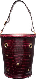 """Luxury Accessories:Bags, Hermes Shiny Bordeaux Porosus Crocodile Mangeoire Bag with GoldHardware. M Circle, 1983. Very Good Condition. 6.5"""" Width..."""