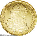 Chile: , Chile: Carlos IV gold 8 Escudos 1789-DA, KM42, AU55 NGC, a nice,fully original coin with light toning and bold details, and nofla...