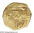 Colombia: , Colombia: Felipe IV gold 2 Escudos ND (1621-65), KM4, crude Fine,clear shield and cross but no other critical details readable.There...