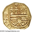 Colombia: , Colombia: Felipe IV gold 2 Escudos 1643NR-R, KM4, a choice example of this coinage with bold strikes on both sides. The obverse featur...