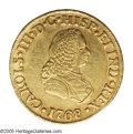 Colombia: , Colombia: Carlos III gold 2 Escudos 1768PN-J, KM36.2, bold VF-XF,lightly toned and highly appealing....