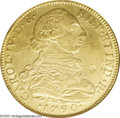 Colombia: , Colombia: Carlos IV gold 8 Escudos 1790NR-JJ, KM53.1, AU50 ANACS,fully lustrous and well-defined strike, one natural flan flaw inthe...