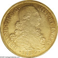 Colombia: , Colombia: Ferdinand VII gold 8 Escudos 1820NR-JF, KM66.1, AU55 NGC,last year of the colonial 8 Escudo series in Colombia, lightlyton...