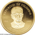Colombia: , Colombia: Republic gold 70000 Pesos 1988, KM277, Fr-144, Proof 67NGC, a choice coin with full cameo, 100th anniversary of the birtho...