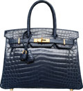 Luxury Accessories:Bags, Hermes 30cm Shiny Blue Abysse Nilo Crocodile Birkin Bag with Gold Hardware. N Square, 2010. Excellent Condition. 1...