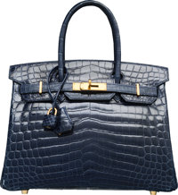 Hermes 30cm Shiny Blue Abysse Nilo Crocodile Birkin Bag with Gold Hardware N Square, 2010 Excelle