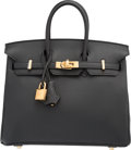 "Luxury Accessories:Bags, Hermes 25cm Black Togo Leather Birkin Bag with Gold Hardware. T,2015. Pristine Condition. 10"" Width x 8"" Height x 5"" Dept..."