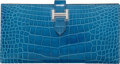 "Luxury Accessories:Accessories, Hermes Shiny Mykonos Alligator Bearn Wallet with PalladiumHardware. Q Square, 2013. Pristine Condition. 7""Width ..."