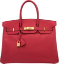 "Luxury Accessories:Bags, Hermes 35cm Rouge Vif Courchevel Leather Birkin Bag with GoldHardware. D Square, 2000. Excellent Condition. 14"" Width x1..."
