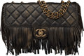 "Luxury Accessories:Bags, Chanel Limited Edition Paris-Dallas Black Quilted Leather FringeFlap Bag. Excellent Condition. 11"" Width x 6"" Height..."