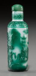 Asian:Chinese, A Chinese Green Overlay White Glass Landscape Snuff Bottle, QingDynasty, 19th century. 3-1/8 inches high (7.9 cm). ...