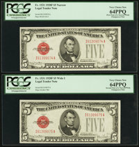 Reverse Changeover Pair Fr. 1531/1531 $5 1928F Narrow/1928F Wide I Legal Tender Notes. PCGS Very Choice New 64PPQ