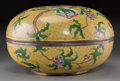 Paintings, A Large Chinese Cloisonné Peach Bloom Covered Box, late Qing Dynasty. 9 inches high x 15-5/8 inches diameter (22...