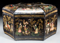 Asian:China Trade, A Large Chinese Export Hexagonal Polychromed Wood Tea Caddy withTin Insert, late Qing Dynasty. 7-1/4 h x 13-1/2 w x 12 d in...
