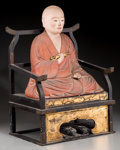 Asian:Japanese, A Japanese Polychrome Wood Seated Figure of Kobo Daishi, QingDynasty, 17th-18th century. 20-1/4 h x 13-1/2 w x 10-1/8 d inc...(Total: 2 Items)