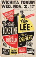 Music Memorabilia:Posters, Billy Eckstine/Peggy Lee Wichita Forum Concert Poster (1954).Rare....