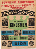 Music Memorabilia:Posters, Kingsmen/Dion Township Auditorium Fun Au Go-Go Concert Poster(1965). Extremely Rare....