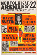 Music Memorabilia:Posters, David Ruffin/Kool And The Gang Norfolk Arena Concert Poster(Supersonic Attractions Presents, 1969). Very Rare....