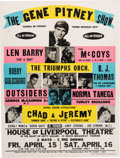 Music Memorabilia:Posters, Gene Pitney House Of Liverpool Theatre Concert Poster (1966). VeryRare....