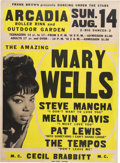 Music Memorabilia:Posters, Mary Wells Arcadia Roller Rink Concert Poster (Frank BrownPresents,1966). Very Rare....