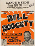 Music Memorabilia:Posters, Bill Doggett Meadow Acres Ballroom Concert Poster (1963). VeryRare....