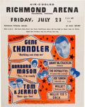 Music Memorabilia:Posters, Gene Chandler/Jimmy McCracklin Richmond Arena Concert Poster(1965)....