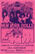 Music Memorabilia:Posters, New York Dolls/Kiss I.M.A. Auditorium Concert Poster (Brass Ring and WABX,1974). ...