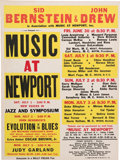 Music Memorabilia:Posters, Judy Garland/John Coltrane/Louis Armstrong Music At Newport ConcertPoster (Sid Bernstein & John Drew, 1961). Very Rare....