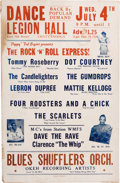 """Music Memorabilia:Posters, Four Roosters And A Chick (The Impressions) Legion Hall Concert Poster (""""Pappy' Ted Bryant Presents, 1956). Extremely Rare...."""