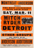Music Memorabilia:Posters, Mitch Ryder And Detroit Anderson Auditorium Concert Poster(Montreat Anderson, 1967)....