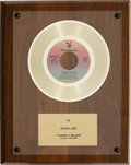 "Music Memorabilia:Awards, Hamilton, Joe Frank & Reynolds ""Fallin' In Love"" PlayboyRecords In-House Gold Sales Award (Playboy P 6024, 1975)...."