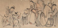 Works on Paper, Chinese School (19th Century). Ink and color on paper figural painting (star gods playing with boys), framed. 43-1/2 x 8...