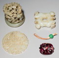 Other, A Group of Four Chinese Jade and Glass Carvings. 2-1/4 inches diameter (5.7 cm) (bi disk). ... (Total: 4 Items)