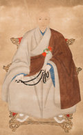 Asian, Japanese School (18th Century). Monk. Framed, ink and colorpainting on paper. 31-1/2 x 20 inches (80.0 x 50.8 cm). ...