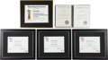 Movie/TV Memorabilia:Awards, A Bruce Willis Group of Nomination Certificates, 1980s-1990s....(Total: 6 Items)