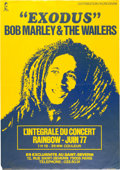 Music Memorabilia:Posters, Bob Marley & the Wailers Exodus - Rainbow Theatre July'77 Concert Film Poster (France - Island, 1977)....