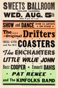 Music Memorabilia:Posters, Drifters/Coasters Sweet's Ballroom Concert Poster (Circa 1959).Rare....