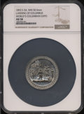 Expositions and Fairs, 1893 World's Columbian Exposition, Landing of Columbus AU58 NGC. Eglit-54. White Metal, 50.5 mm....