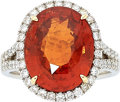 Estate Jewelry:Rings, Spessartine Garnet, Diamond, White Gold Ring . ...