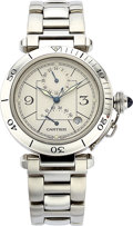 Estate Jewelry:Watches, Cartier Gentleman's Stainless Steel Automatic Second Time ZonePasha Watch. ...