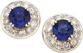 Estate Jewelry:Earrings, Sapphire, Diamond, Platinum, Gold Earrings. ... (Total: 2 Items)