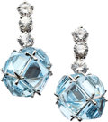 Estate Jewelry:Earrings, Blue Topaz, Sapphire, White Gold Earrings, Paolo Costagli. ...(Total: 2 Items)