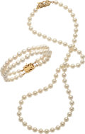 Estate Jewelry:Pearls, Cultured Pearl, Gold Jewelry, Mikimoto. ... (Total: 2 Items)