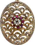 Estate Jewelry:Pendants and Lockets, Diamond, Ruby, Gold Pendant-Brooch-Necklace. ...