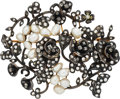 Estate Jewelry:Brooches - Pins, Antique Diamond, Freshwater Pearl, Silver-Topped Gold Brooch. ...